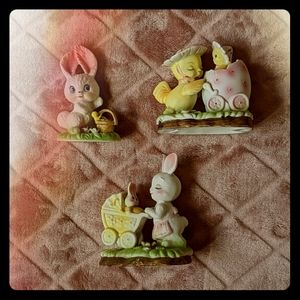 Vintage Springtime Bunny and Duck Figurines